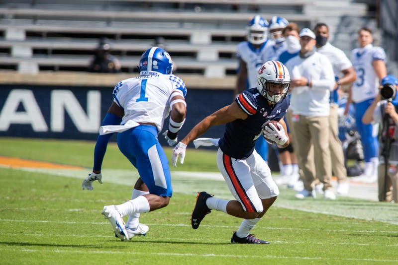 Anthony Schwartz (1) sprints down the sideline during Auburn Football vs. Kentucky on Saturday, Sept. 26, 2020, in Auburn, Ala.