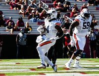 Oct 15, 2020; Columbia, SC, USA; Tank Bigsby (4) walking in for the touchdown during the game between Auburn and South Carolina at Williams-Brice Stadium. Mandatory Credit: Todd Van Emst/AU Athletics