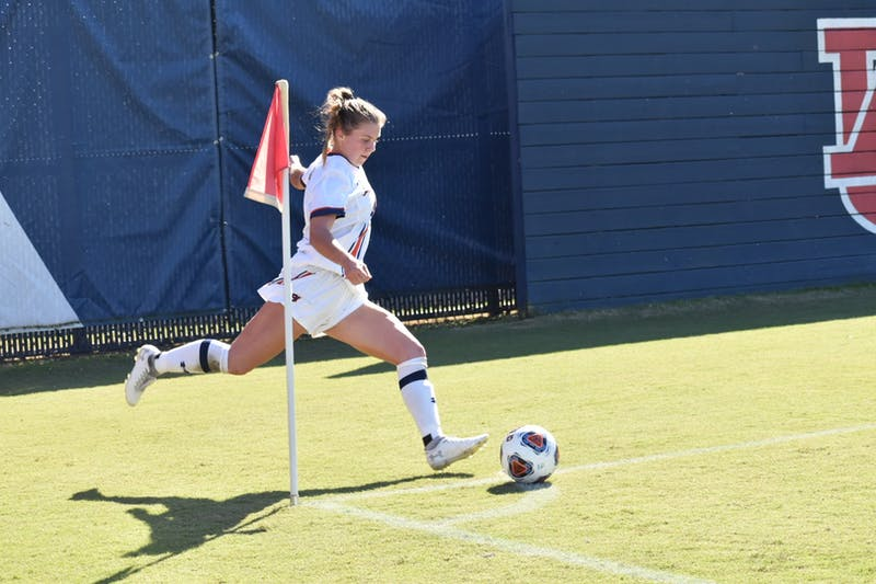 Auburn's leading scorer, Anna Haddock, prepares to take a Tiger corner in the second half of Sunday's win over Texas A&M.