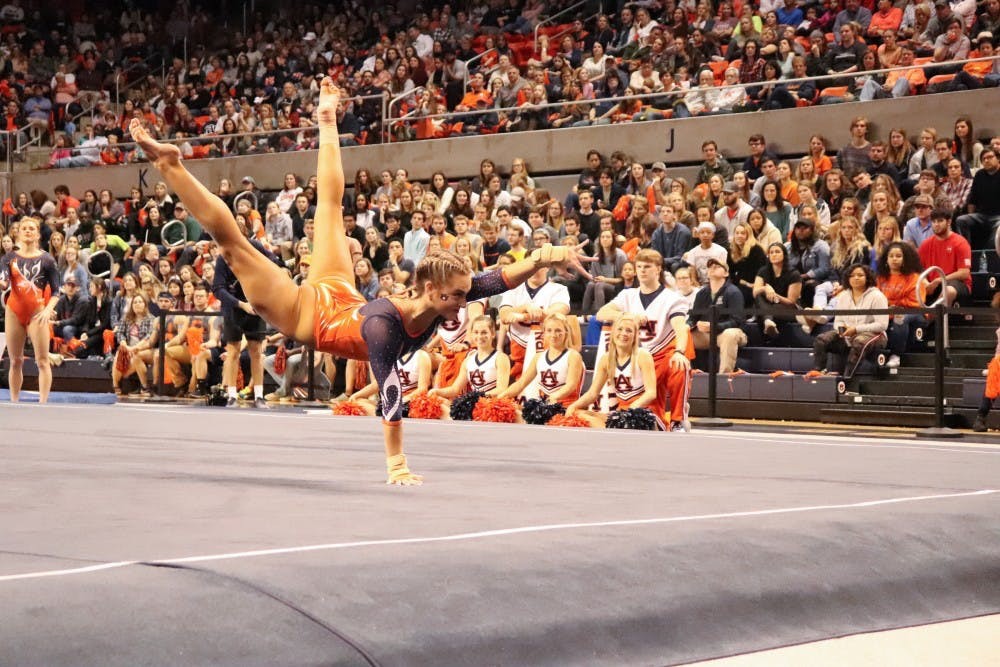 Auburn gymnastics recovers from miscues in win over Texas Woman's University