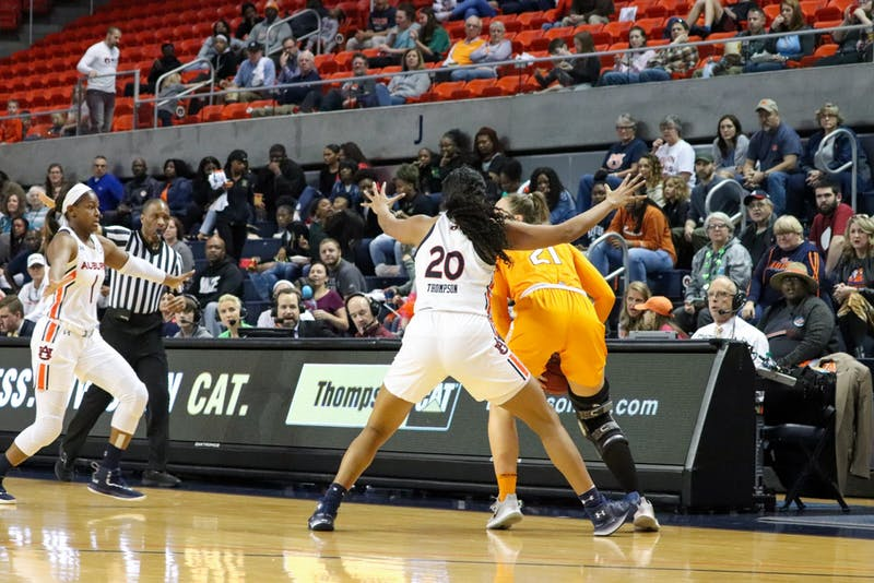 Unique Thompson (20) plays defensively during Auburn Women's Basketball vs. Tennessee on Mar. 1, 2020, in Auburn, Ala.