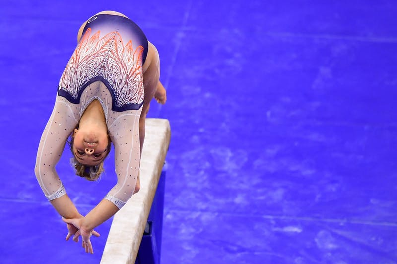 Florida and Auburn compete during a gymnastics meet at Auburn Arena on Jan 8, 2021; Auburn, AL, USA. Photo via: Shanna Lockwood/AU Athletics