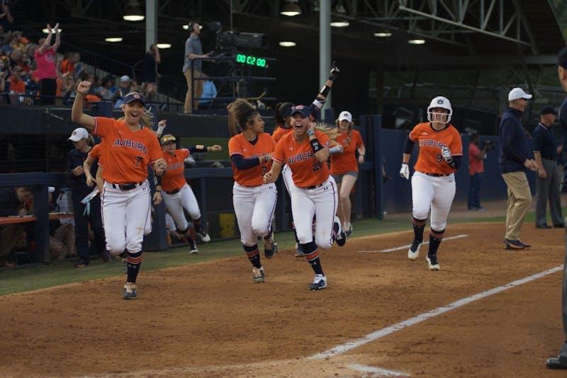 Auburn cheers on the team during the Auburn vs. Georgia Softball game on March 29, 2019, in Auburn, Ala.