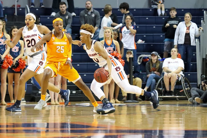 Daisa Alexander (0) goes in to make a basket during Auburn Women's Basketball vs. Tennessee on Mar. 1, 2020, in Auburn, Ala.