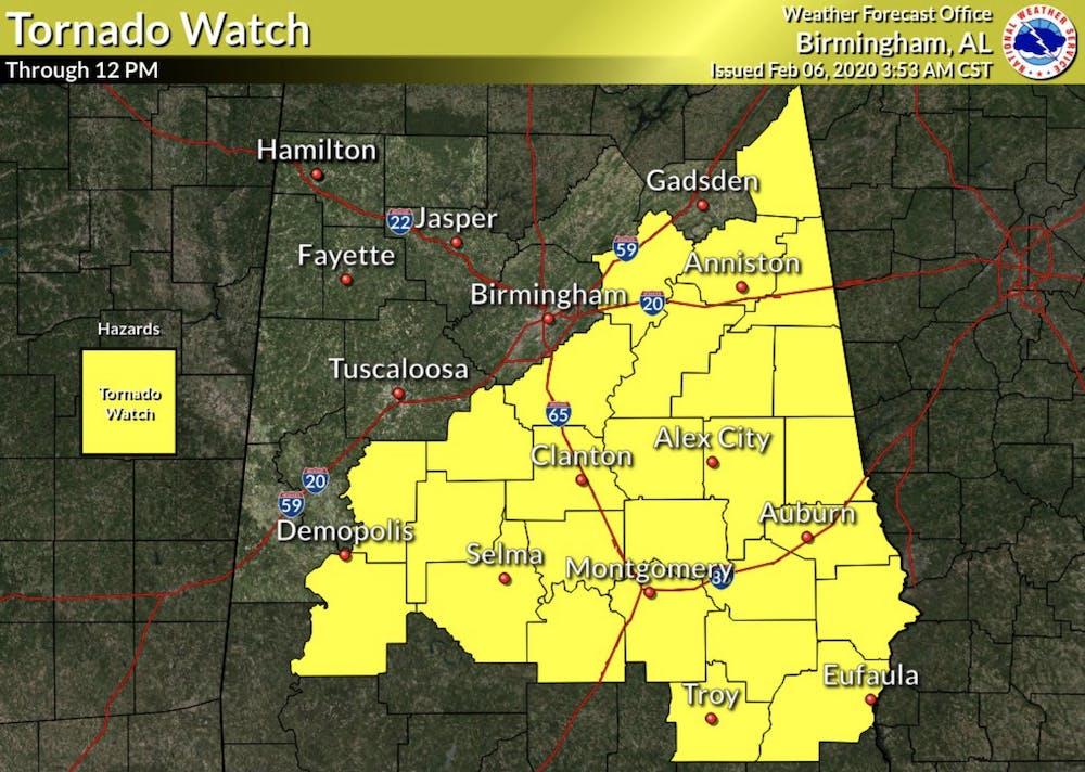 Lee County under tornado watch; AU suspends classes until 2 p.m.
