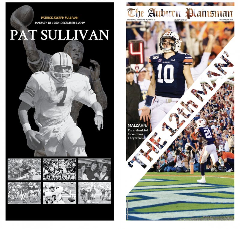 The front and back page of The Auburn Plainsman's Dec. 5, 2019, issue. Designed by Loren Kimmel, Mikayla Burns and Nathan King.