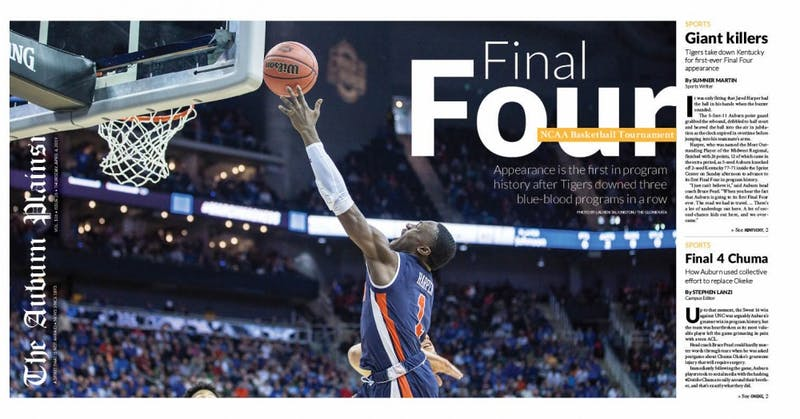 The front page of The Auburn Plainsman's April 4, 2019, issue.