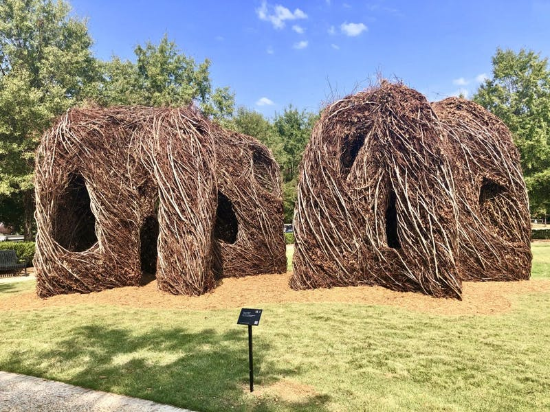 Patrick Dougherty's work featured at the Jule Collins Smith museum on Monday, Oct. 21, 2019, in Auburn, Ala.