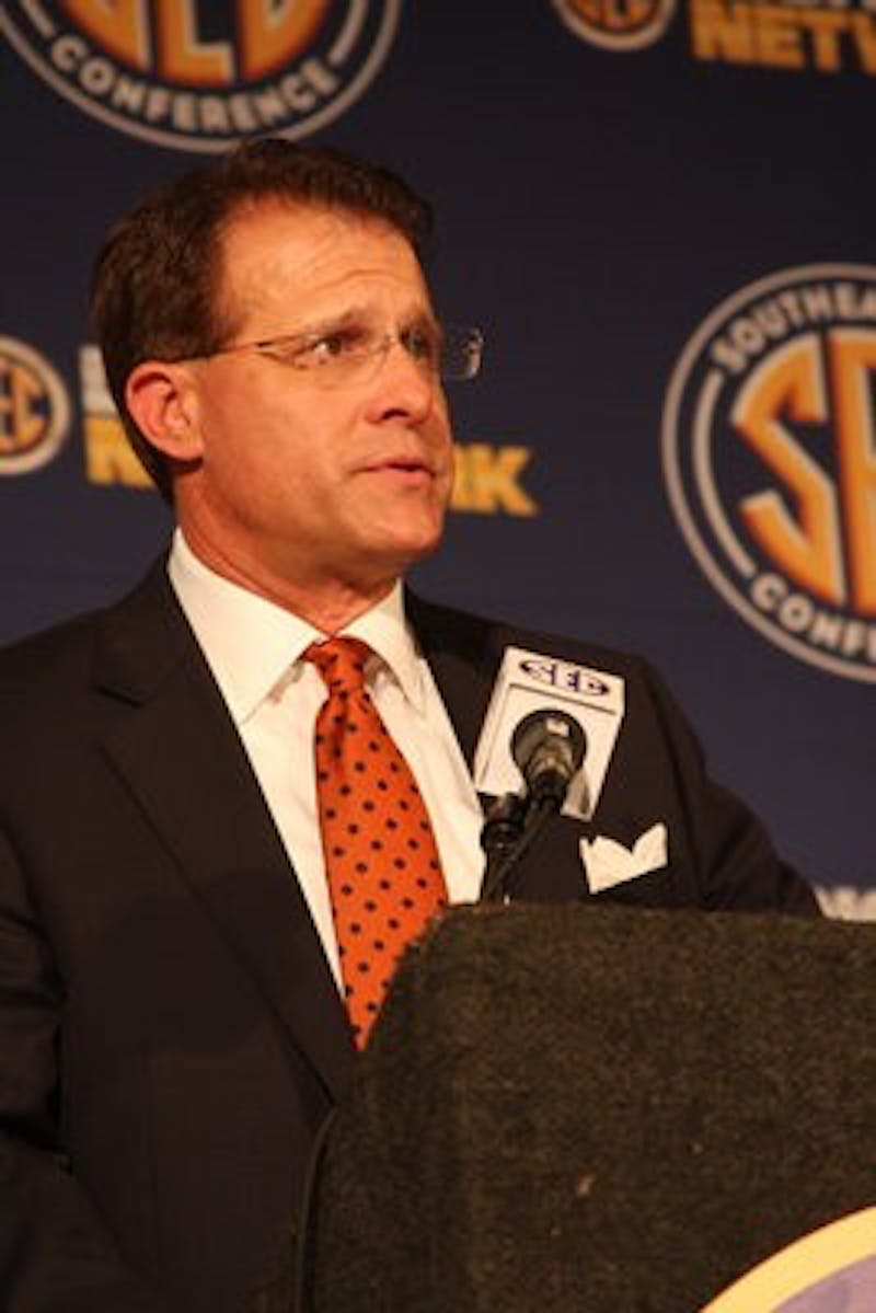 Auburn football coach Gus Malzahn at SEC Media Days Wednesday, July 17. (Chelsea Wooten / PHOTO EDITOR)