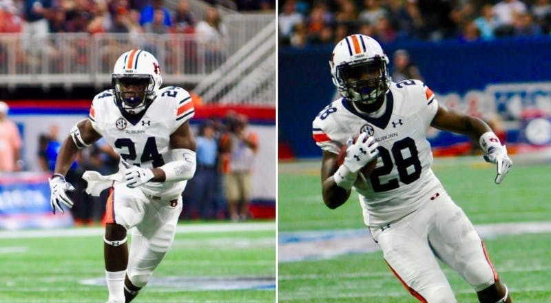 """Both Daniel Thomas (24, left) and """"Boobee Whitlow"""" (28, right) showed up in crucial situations for Auburn last Saturday."""