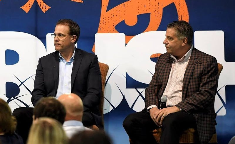 Cole Cubelic moderates AMBUSH on Thursday with coaches Gus Malzahn and Bruce Pearl. Auburn AMBUSH on Thursday, May 2, 2019 in Decatur, Ala.