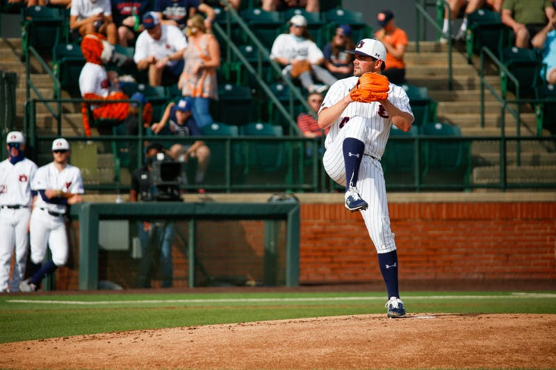 Jack Owen (44) pitching during the game between Auburn and Mississippi State at Plainsman Park on Apr 10, 2021; Auburn, AL, USA. Photo via: Matthew Shannon/AU Athletics