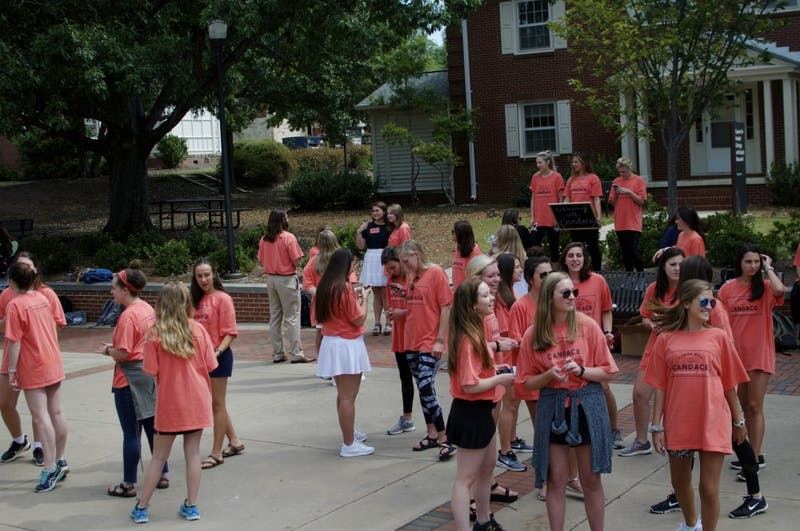 Students campaign for Miss Homecoming candidates on Wednesday, Sept. 13, 2017 in Auburn, Ala.