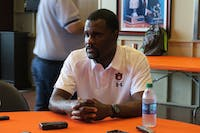 Assistant Football Coach Marcus Woodson being interviewed on  August 16, 2018.