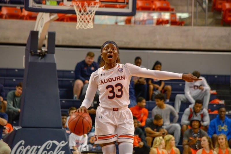 Janiah McKay (33) talks to her teammates during Auburn Women's Basketball vs. Oklahoma on Sunday, Dec. 2, 2018, in Auburn, Ala.