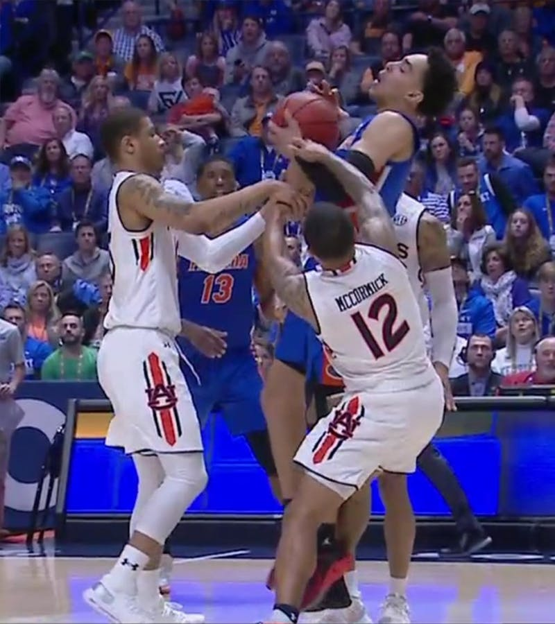 Andrew Nembhard (2) on the final play of Auburn vs. Florida on March 16, 2019, in Nashville, Tenn.