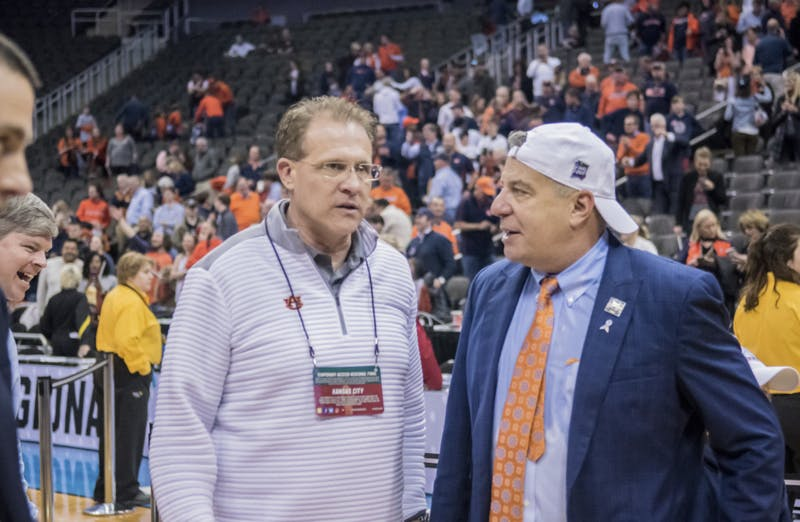 Gus Malzahn and Bruce Pearl. Auburn basketball vs. Kentucky in the Midwest Regional Final of the 2019 NCAA Tournament on March 31, 2019, in Kansas City, Mo. Photo courtesy Lauren Talkington / The Glomerata.