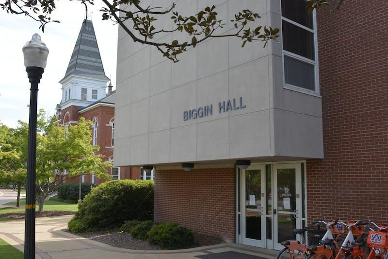 Biggin Hall on the Auburn University campus on April 10, 2020, in Auburn, Ala.