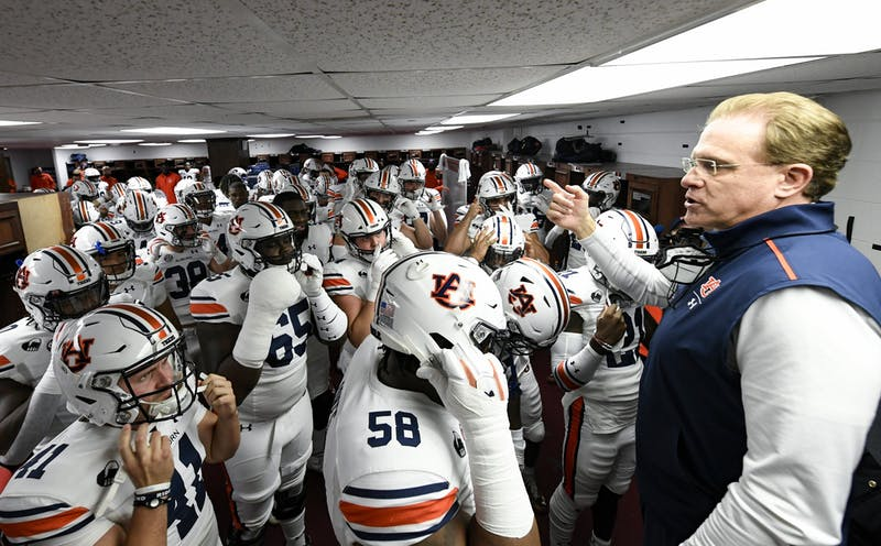 Coach Gus Malzahn talking to the team before the game during the game between Auburn and Alabama at Bryant-Denny Stadium on Nov. 28, 2020; Tuscaloosa AL, USA. Photo via: Todd Van Emst/AU Athletics
