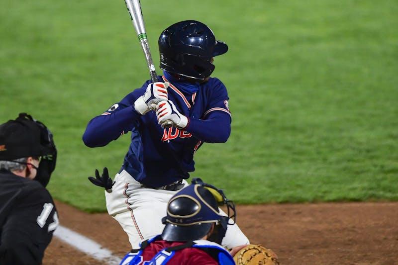 Feb 19, 2021; Auburn, AL, USA; Auburn Tigers infielder Ryan Bliss (9) at bat during the game between Auburn and Presbyterian  at Plainsman Park. Mandatory Credit: Shanna Lockwood/AU Athletics
