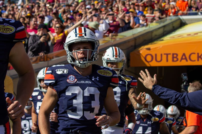 Will Hastings (33) enters The Outback Bowl to take on Minnesota on Jan. 1, 2020, in Tampa, Fla.