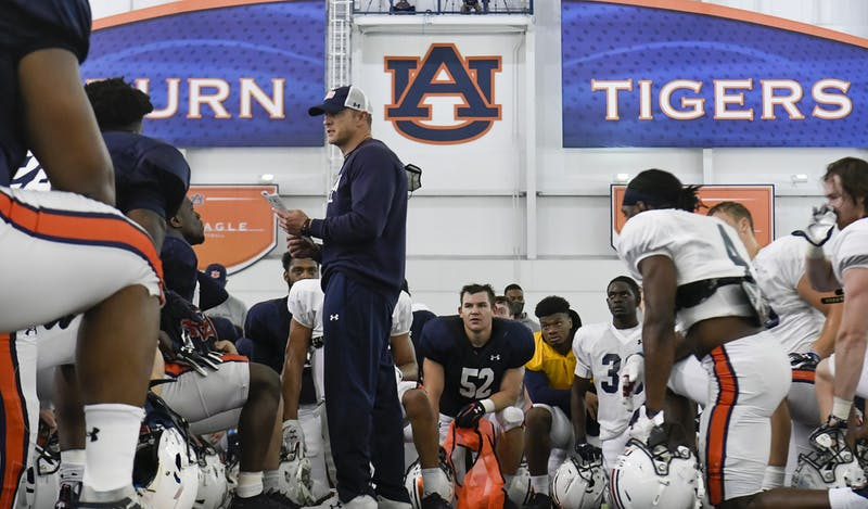 Coach Bryan Harsin talks to his team during practice Saturday.Auburn practice/scrimmage on Saturday, April 10, 2021 in Auburn, Ala.Todd Van Emst/AU Athletics