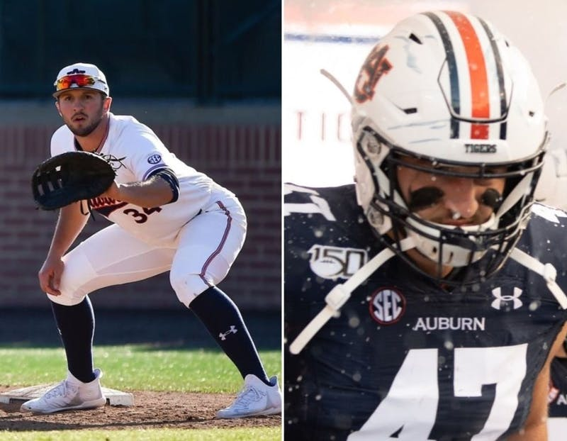 LEFT: John Samuel Shenker (34) playing infield for Auburn baseball (Matthew Shannon / Auburn Athletics) RIGHT: Shenker (47) runs out of the tunnel for Auburn football (Joshua Fisher / Plainsman Photographer)