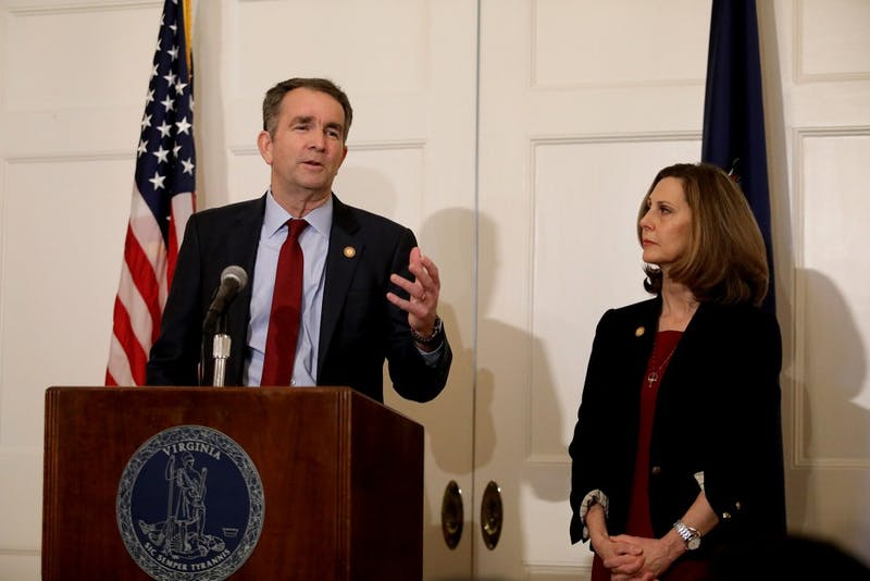Virginia Gov. Ralph Northam, with his wife Pam at his side, said at a news conference in the Executive Mansion on Saturday, Feb. 2, 2019, that he is not the person in the racist photo in the EVMS yearbook and he will not resign. (Steve Earley/Virginian Pilot/TNS)