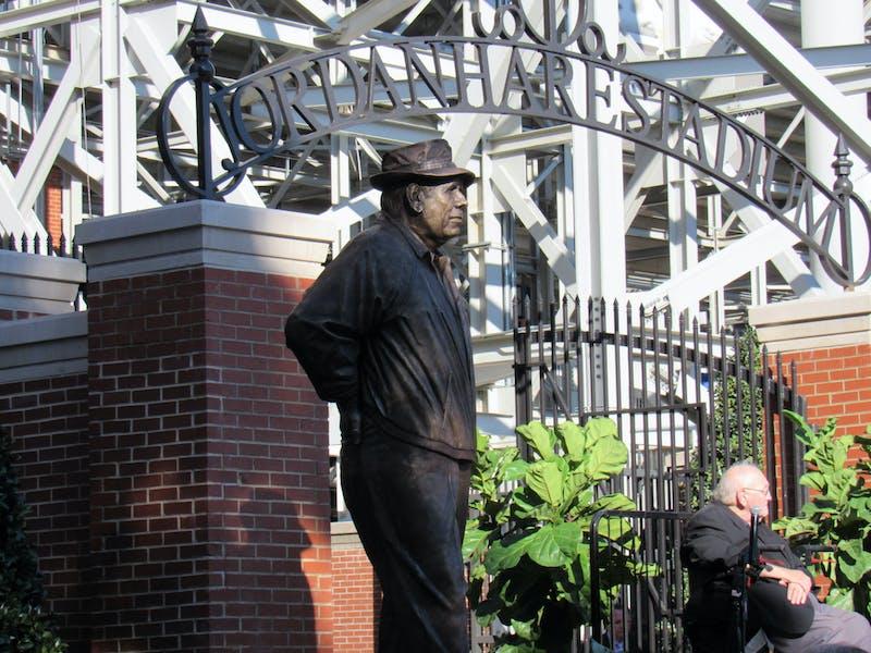 "The staute of Coach Ralph ""Shug"" Jordan unveilied on October 8, 2021 in Auburn, Ala."