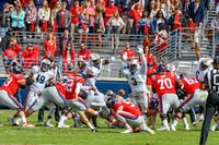 Auburns defensive line reaches up to block an Ole Miss kick during Auburn Football vs. Ole Miss on Saturday, Oct. 20, 2018, in Oxford, Miss.
