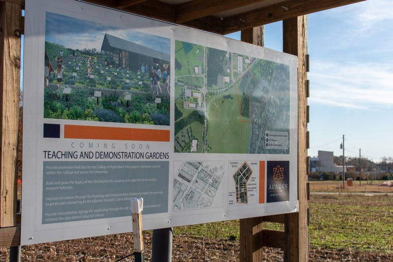 A sign showcasing the future Agricultural Demonstration gardens on Monday, Dec. 3, 2018, in Auburn, Ala.