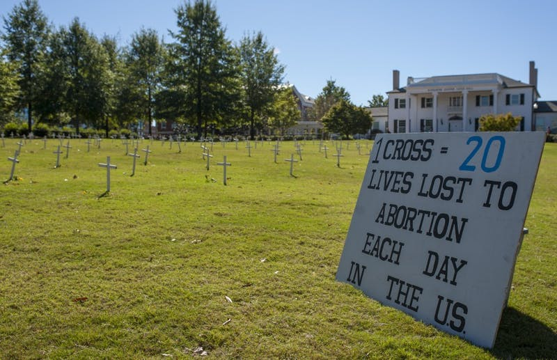 Pro-life demonstration in front of Cater Hall on Tuesday, Oct. 18 in Auburn, Ala.