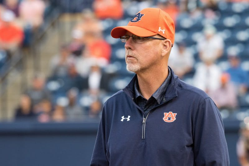 Head Coach Mickey Dean during Auburn's second doubleheader game vs. Arkansas on Saturday, April 21, 2018, in Auburn, Ala.