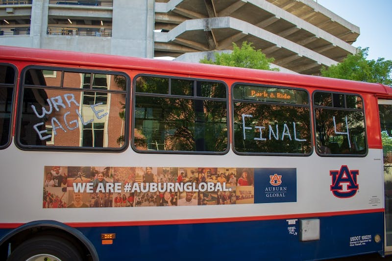 Tiger Transit bus decorated with messages celebrating Auburn Mens Basketball's first Final Four appearance in school history, on Monday, April 1, 2019, in Auburn, Ala.