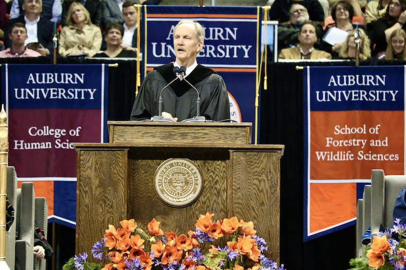 Auburn Alum Michael O'Neill speaks at the Fall 2019 Commencement ceremony on Saturday, Dec. 14, in Auburn, Ala.