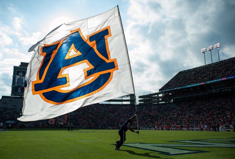 An Auburn flag flies in the endzone after a touchdown in the second half. Auburn vs ULM on Saturday, Nov. 18 in Auburn, Ala.