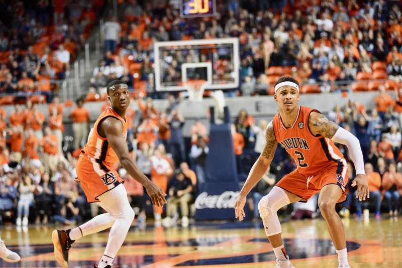Jared Harper (1) and Bryce Brown (2) during Auburn Men's Basketball vs. Mississippi State on March 2, 2019, in Auburn, Ala.