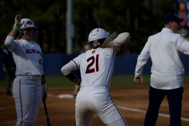 Alyssa Rivera (21) celebrates a run in Auburn Softball vs. Georgia Southern on Mar 1, 2020 in Auburn, AL