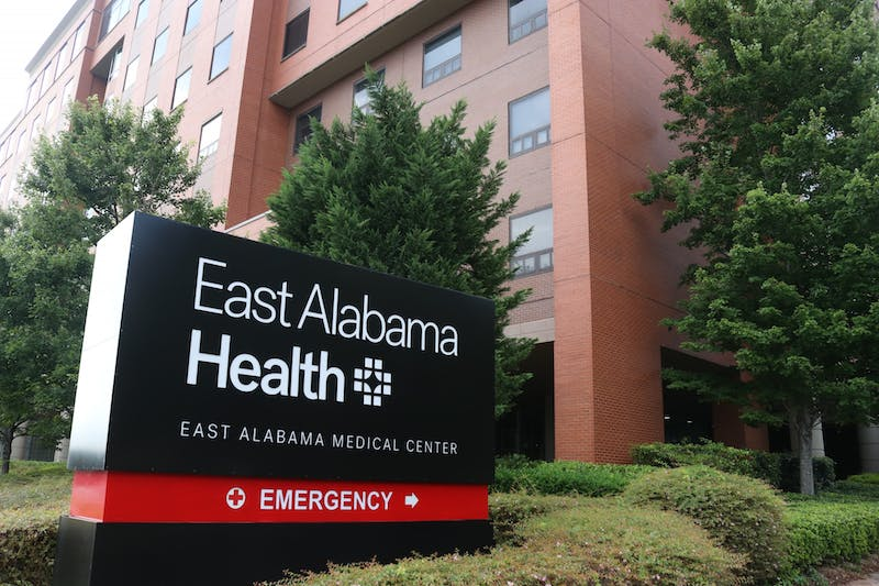 The front of East Alabama Medical Center on Aug. 9, 2021, in Opelika, Ala.