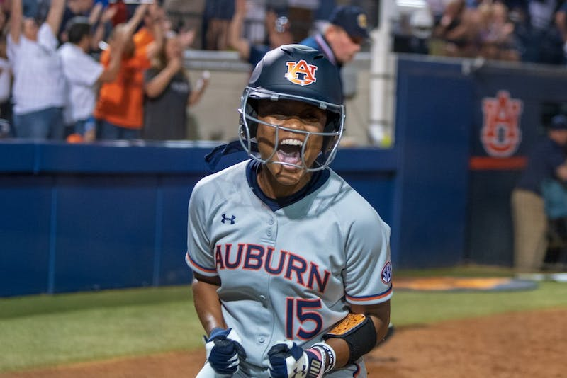 Bree Fornis (15) celebrates after scoring during Auburn Softball vs. South Carolina, on Friday, April 12, 2019, in Auburn, Ala.