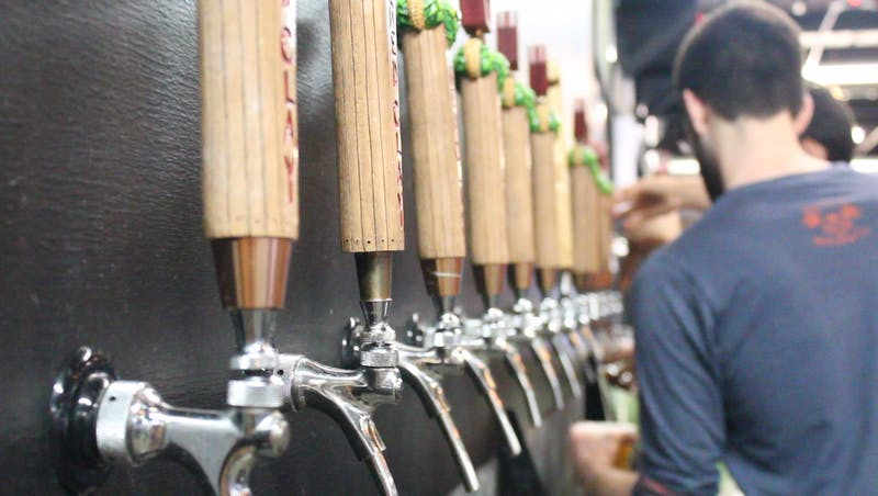 The beer taps at Red Clay Brewery on Friday, April 6, 2018, in Auburn, Ala.
