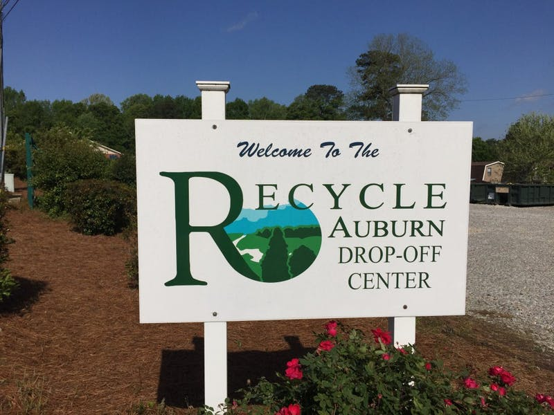 The welcome sign for the Auburn Recycle Center at the Auburn Environmental Services Department's Hazardous Waste Collection Day on Saturday, April 14, 2018 in Auburn, Ala.