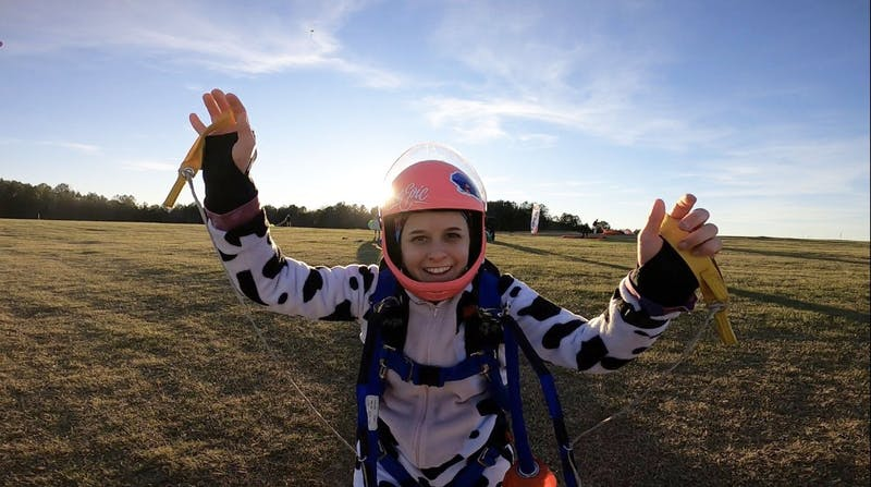 Ashley George has completed 113 skydives since receiving her first tandem skydive equipment in January 2019.