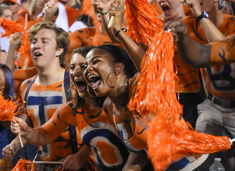 Fans cheer on the tigers during Auburn vs. Mississippi State, on Saturday, Sept. 28, 2019, in Auburn, Ala.