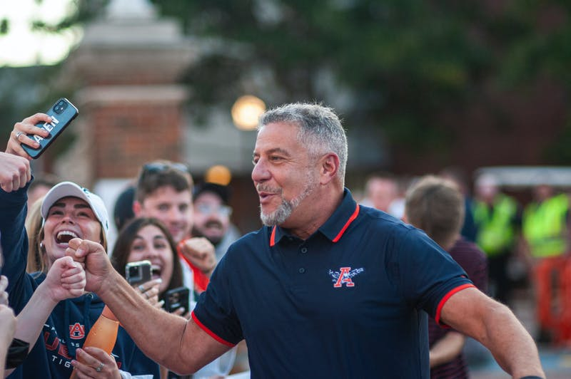 Bruce Pearl greets fans at Tip Off at Toomer's on Oct. 7, 2021, from Auburn, AL, USA.