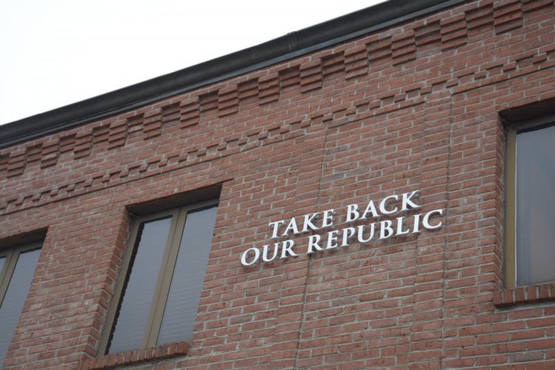 Take Back Our Republic sign daunts above W Magnolia Avenue in Auburn, Ala. on February 15, 2019