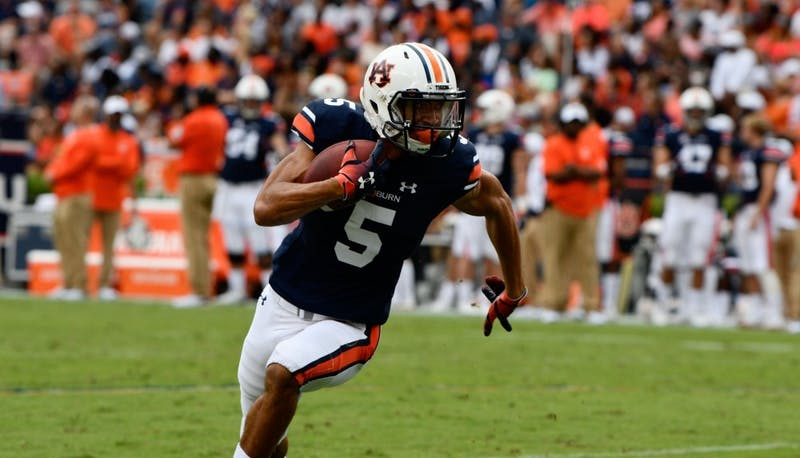 Anthony Schwartz (5) runs the ball during Auburn football vs. Southern Miss on Sept. 29, 2018, in Auburn, Ala.