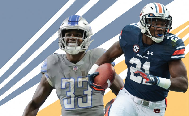 Kerryon Johnson images via DetroitLions.com and Plainsman file photo. Illustration by Chip Brownlee, editor-in-chief and Nathan King, sports editor.