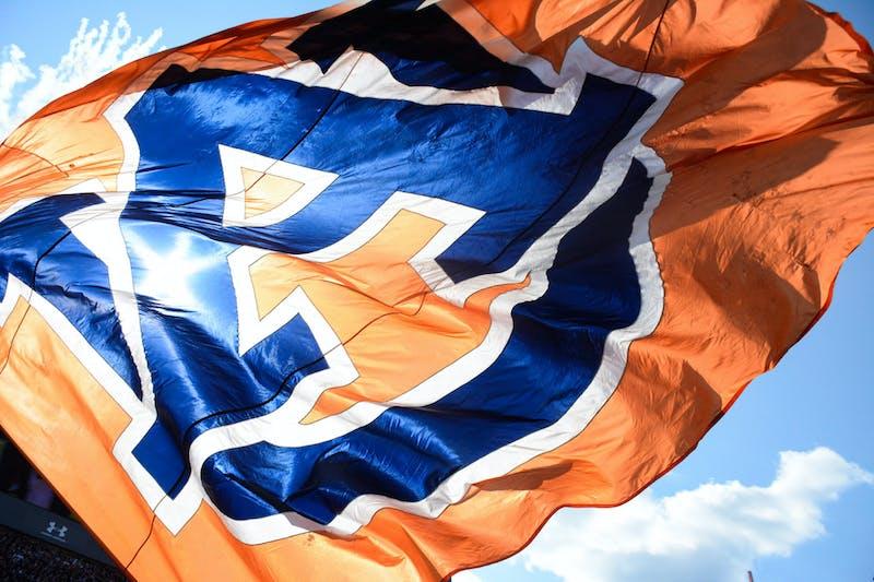 Oct. 9, 2021; Auburn, AL, USA; A flag with the Auburn University logo flies during a football game between Auburn and the University of Georgia at Jordan-Hare Stadium.