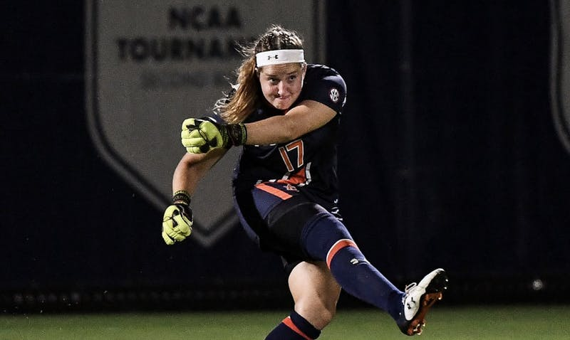 Auburn goalkeeper Kate Hart (17). Via Cat Wofford / Auburn Athletics
